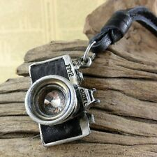 Mens Womens Fashion Charm Retro Camera Pendant Leather Cord Necklace Jewelry Hot