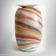 Drew Smith art glass hand blown vase with swirl colors - FEE SHIPPING