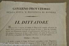 Risorgimento Governo Provvisorio Abolizione Censura Libri Vendita  Modena 1831