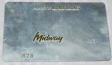 Rare Vintage Midway Airlines Metal Ticket Validation Plate Travel Agency 878