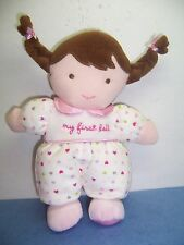 CARTER'S CHILD OF MINE - MY FIRST DOLL - BROWN HAIR -  WHITE/HEARTS/PINK - VGC