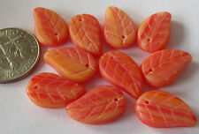 44 Czech Glass Orange Multi-Stripe Leaf Beads 14mm x 10mm