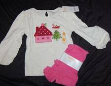 GIRL SIZE 3T GYMBOREE PINK LEGGINGS & EMBROIDERED COTTAGE & COZY OWL TOP NEW NWT