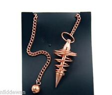 Copper Plated Pendulum matching chain and bead Coil Dowsing Tool Divination !!