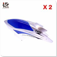 2X BLUE HEAD COVER / CANOPY FOR SYMA S032 RC HELICOPTER SPARE PARTS S032-01