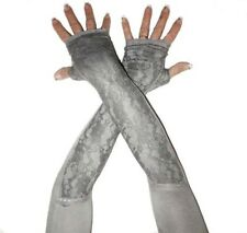 Extra Long Grey Modal Stretchy Lace Fingerless Opera Gloves Arm Warmers