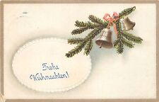 BG4420 fir branch bell embossed  christmas weihnachten   germany  greetings