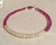 "Faceted Ethiopian Opal Bead & Pink Topaz Bead 7"" Bracelet 925S Clasp BO-6"