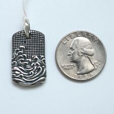 New DAVID YURMAN Men's Sterling Silver 25mm Small Waves Dog Tag Enhancer $295