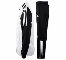 New Adidas MENS Gym Riberio Tracksuit Track Suit Jacket Pants  White w/ Black M