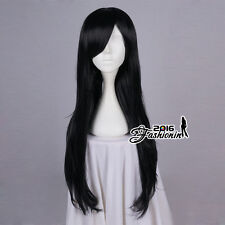 80CM Black Long Wavy Hair Women Basic Synthetic Cosplay Wig Heat Resistant