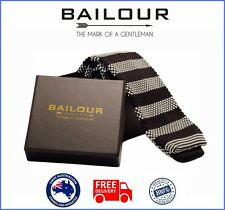 BAILOUR Tie Men's Black & White Formal Stripe Knitted Skinny Slim