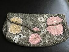 VINTAGE WOMANS BEADED  Envelope style Clutch Evening Bag EUC PROM