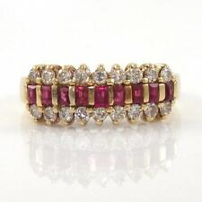 14K Yellow Gold Natural Ruby Diamond Band Ring Size 5