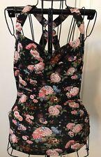 YDE STUDIO Vintage Retro Floral Pinup Rockabilly Blouse TanTop Shirt Sz M EUC