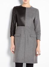 MCQ ALEXANDER MCQUEEN SZ UK8 US4 IT40 GREY WOOL BLACK LEATHER PANEL DRESS