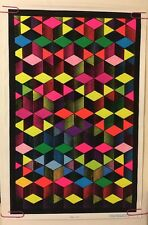 Cubes Vintage Blacklight Poster Funky Psychedelic Pin-up Neon 1990's Geometric