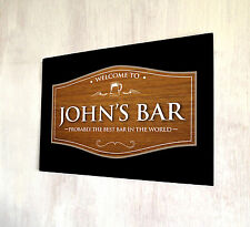 Personalised any name Welcome Best Bar Wood effect Beer Label A4 sign