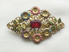 SALE! Vintage 1920s Art Deco Czech Ruby Crystal + Enamel Spring Flower Brooch