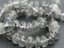 "HAND FACETED TOURMALINATED QUARTZ 6mm rondelle beads, 10"" (014)"
