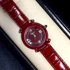 32.5mm BE HAPPY Ladies Watch 3 FACTORY DIAMONDS, RUBIES & Chopard Leather Band