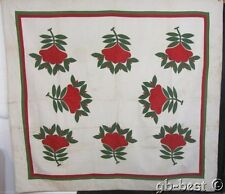 Early 1850s Album Antique Applique QUILT Red Green RARE FLOWER Maryland