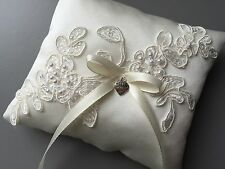 Ivory Wedding Ring Pillow Cushion Holder Bearer Beaded Lace Bow Heart Pocket UK