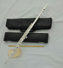 Professional 17 Open Holes Flute Silver Plated Offset G Keys B foot Split E+case