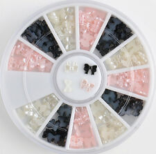 beauty black white 3d bow tie wheel acrylic nail art glitter decoration tools