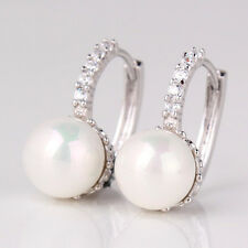 Vintage Slim Style Clear Sapphire Crystal White Pearl Silver Tone Earrings Studs