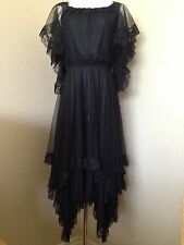 VINTAGE CHRISTIAN DIOR BLACK LACE DRESS HANDKERCHIEF HEM/OFF THE SHOULDER  STYLE