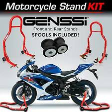 Red Bike Stand Kit Front & Rear Lift Spool Package for Suzuki GSXR R600 R750