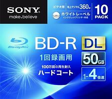 10 Sony 3D Bluray BD-R DL 50 GB 4X Speed HD Blu-ray Region Free Discs Printable
