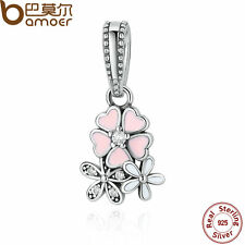 Bamoer Authentic c S925 Sterling Silver Charm With Poetic Bloom Flower Jewelry