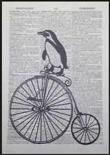 Vintage Penguin Penny Farthing Print Dictionary Page Wall Art Picture Bicycle