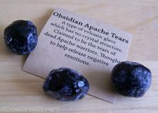 Apache Tears - 3 Natural Transcluent Apache Tears 20mm + Free Smaller Rock