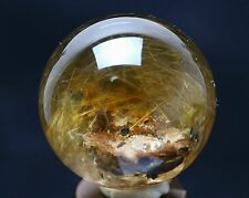 """43mm Natural Clear Gold Hair Rutilated Crystal Ball SPHERE +""""Stone in Stone"""""""