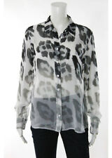 Equipment Femme White Black Grey Silk Cheetah Print Button Down Shirt Size Small