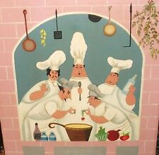 """FIVE CHEF""""S IN A KICTHEN COOKING STEW ORIGINAL OIL ON CANVAS FOLK PAINTING"""