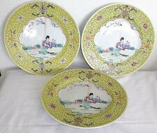 """3 Antique Chinese 9"""" Porcelain Plates, Hand Painted Garden Scene, Yellow Band"""