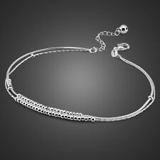 Charm Solid Sterling Silver Bell Pendant Snake Chain Lady's Anklet SB133