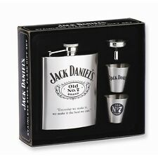Jack Daniels Stainless Steel 6oz Cover Flask Gift Set