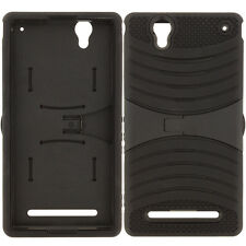 For Sony Xperia T2 Ultra Heavy Duty Armor Hybrid Case Hard Soft Stand Black