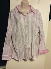 Womens Plus 20 2X Tommy Hilfiger Pink Striped Button Down Shirt Long Sleeve Top