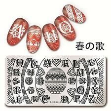 Harunouta-L014 Nail Art Stamping Image Plate Template Wave Line Letters Design