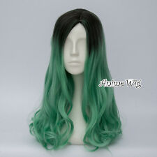 50cm Women Black Mixed Green Curly Wig Fancy Dress Party Cosplay Wig + Cap
