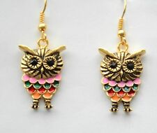 Owl Theme Earrings / Gold-tone Dangling Fish-Hook