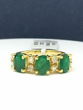 14k Solid Yellow Gold Natural 3 Stones Emerald And Diamond Ring