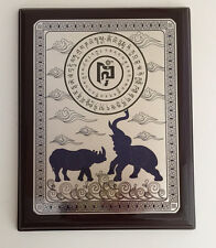 FENG SHUI ANTI BURGLARY BLUE RHINO AND ELEPHANT PROTECTION PLAQUE