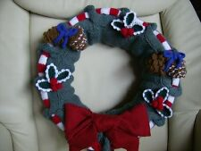 Three Christmas Wreaths with trims & decorations (soft toy) knitting Pattern